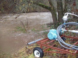 Flood waters get too close to the pump for comfort